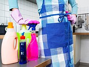 Housewife with cleaning products