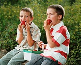 Boys eating apples