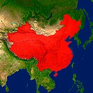 Highlighted satellite image of China