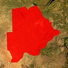 Highlighted satellite image of Botswana
