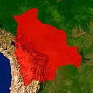 Highlighted satellite image of Bolivia