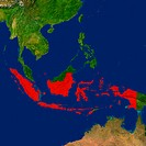 Highlighted satellite image of Indonesia