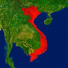 Highlighted satellite image of Vietnam