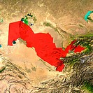 Highlighted satellite image of Uzbekistan