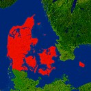 Highlighted satellite image of Denmark