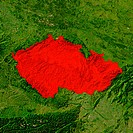 Highlighted satellite image of Czech Republic