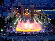 Plaça d'Espanya seen from Montjuic magic fountains, Barcelona. Catalonia, Spain