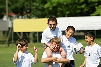 Kid´s soccer team celebrating