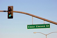 Street Cesar Chavez named for labor leader in California Hispanic Latin Mexican