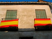 Spanish flags, Chinchón. Madrid, Spain