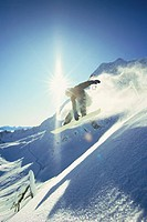 Man snowboarding.