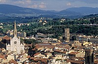 Church of Santa Croce seen from the cathedral bell tower, Florence. Tuscany, Italy