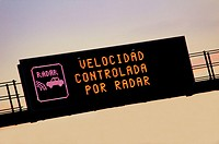 Speed controlled by radar sign. Barcelona road. Catalonia. Spain