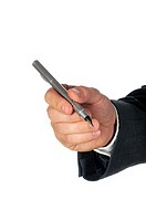 Close-up of a businessman holding a pen
