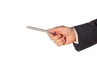 Close-up of a businessman holding a pen