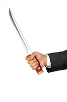 Close-up of a businessman holding a sword