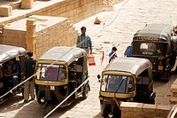 High angle view of rickshaws on the street, Jaisalmer, Rajasthan, India