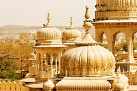 High angle view of domes of a palace, Royal Gaitor, Jaipur, Rajasthan, India