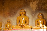 Array of statues in a temple, Jaisalmer, Rajasthan, India