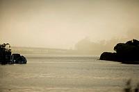 Side profile of boathouses, Sausalito, California, USA