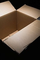View of open, empty cardboard box