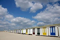 Colourful cottages/cabins on the beach, Netherlands