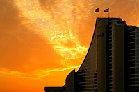 Jumeirah Beach Hotel in Dubai at sunset, United Arab Emirates