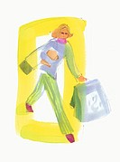 Woman walking with shopping bags and packages