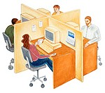 Four people working at desks separated by partitions