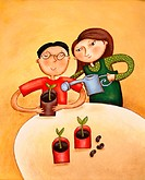 Boy holding potted plant, girl watering it