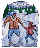 Man and boy skating on frozen river