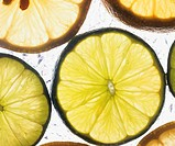 Close-up of lemon and lime slices