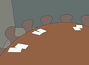 Papers on conference room table