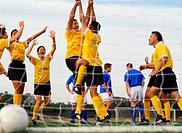 Soccer Team Celebrating Goal