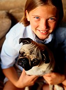 12 Year Old Girl and Pug Dog