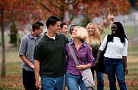 Group of Teenagers Walking Outdoors, Autumn