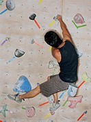 Man scaling climbing wall, rear view