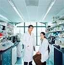 Research scientists in laboratory, portraig