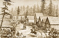 Street scene in Cisco Station, California in 1870s. From American Pictures Drawn With Pen And Pencil by Rev Samuel Manning circa 1880