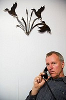 A man at work is talking on the phone underneath a metal sculpture of ducks