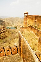 High angle view of a lake seen from a fort, Jaigarh Fort, Jaipur, Rajasthan, India