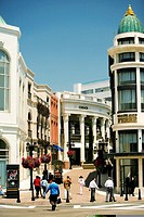 Group of people walking on a street, Rodeo Drive, Los Angeles, California, USA