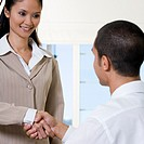 Rear view of a businessman shaking hands with a businesswoman