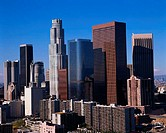 Cluster of skyscrapers in downtown Los Angeles