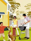 Family having barbecue in backyard