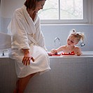 Mother and Daughter in the Bathroom