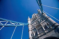 England, London, Tower Bridge, low angle view