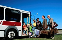 Family Boarding Airport Bus