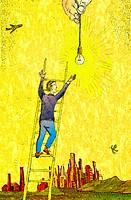 Man Reaching for Light Bulb