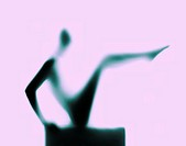 Silhouette of woman stretching, side view (defocused, gel effect)